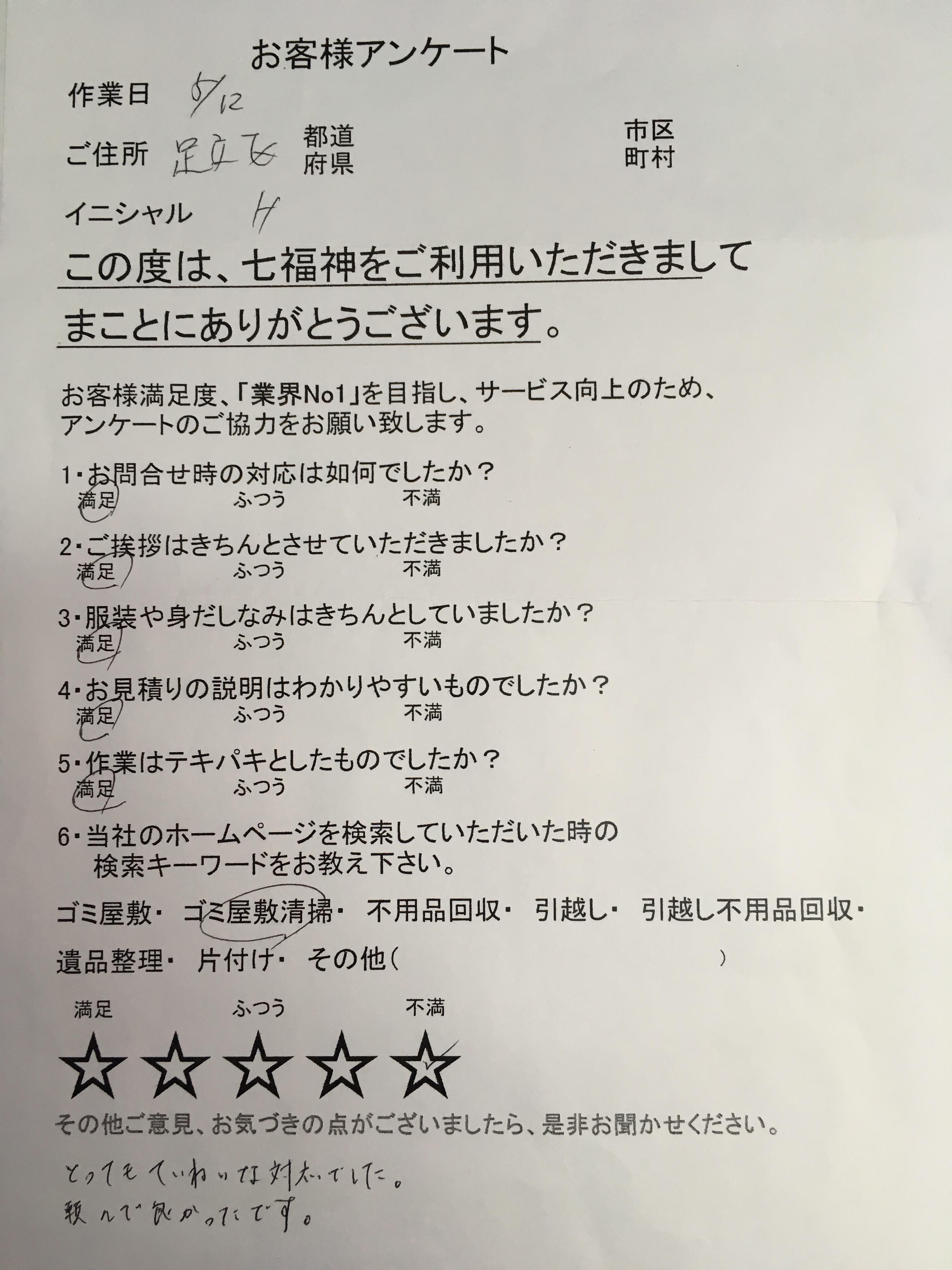 お客様 アンケート 東京都 足立区 Hさま